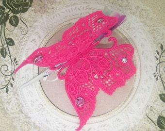 Fuscia Pink lace Hair Clip