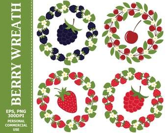 50% OFF SALE Berry Wreath & Berries Clip Art - Leaves, Wreath, Raspberry, Strawberry, Blackberry, Cherry Clip art