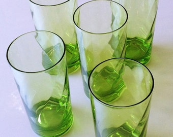 Vintage Green Glass Tumblers, ice tea glasses, summer barware glass, spring green glasses, iced tea tumblers, beverage set weighted bottoms