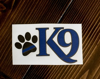 Police K9  Vinyl Decal, K9 Decal, Working Dog Decal, Thin Blue Line K9 Decal, Police K9 Decal, Car Window Decal, Thin Blue Line,