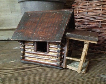 Folk Art Log Cabin House, Handcrafted Wood, Antique Rustic Americana, Cabin Decor