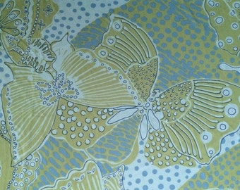 2+ Yard Vintage Fabric 60s Butterfly Flower Gilbert Frank Polyester Avocado Green and Sea Foam Blue Polyester