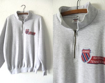K-Swiss Tennis Stand Collar Sweatshirt - 90s Preppy Hip Hop Style Sporty Baggy fit Quarter Zip Vintage Jumper - Mens XL