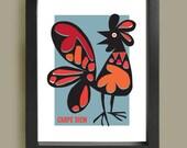 Carpe Diem, mid century modern Cockerel print, retro poster, home decor, Eames era Chicken print, kitchen wall art, inspirational quote