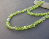 Natural Gemstone Peridot Nugget - 925 Sterling Silver Long Necklace, Green Long Necklace, Peridot Long Necklace