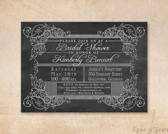 Scrollwork Chalkboard - Printable Wedding Bridal Shower Invitation - 5x7 -Black White Chalk Vintage Typography Ornate Elegant Customized DIY