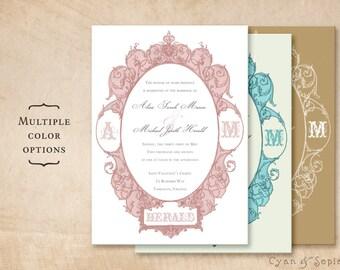 Printable 5x7 Wedding Invitation - Antique Oval Frame - Ornate Victorian Art Nouveau Customized DIY - Pink Blush Gray Aqua Ivory Gold White