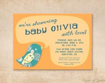 Printable Baby Shower Invitation - 5x7 - Baby Bird - Tangerine Orange Teal Turquoise Blue - Boy Girl Gender Neutral Cute Vintage Scrapbook