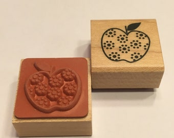 small fancy Apple rubber stamp, 25 mm (F1)