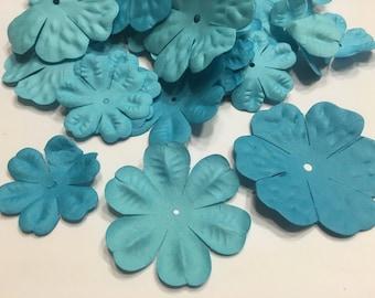 10 piece assorted blue tone flower scrapbooking embellishments, 35-55 mm (AA3)