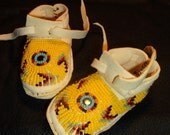 Beaded NewBorn Moccasins 0 to 6 mo.Tribal Artist Free Shipping