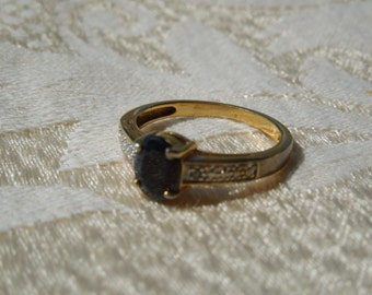 Vintage Costume Ring, Gold Toned Metal, Dark Blue Stone, Stamped, Size 7 3/4