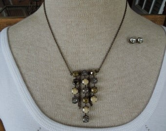 Vintage SAQ Necklace and Earrings.  Signed, Brass Toned With Rhinestones.  Post Style Earrings