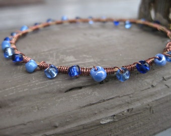Guitar String Bracelet with Dark Blue Beads