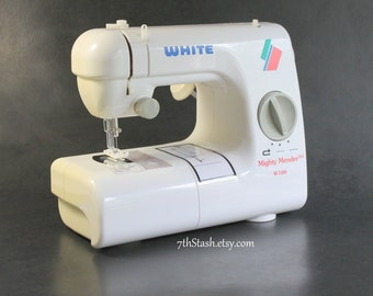 Mighty Mender Sewing Machine by White - Small Basic Electric Machine - W100 - Free Arm - Two Locking Stitch Lengths - Reverse