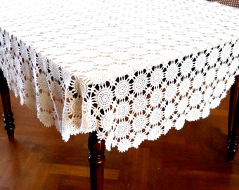 vintage round crocheted tablecloth vintage beige tablecloth vintage french crocheted tablecloth shabby chic