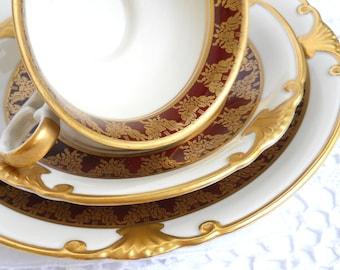 vintage tea cup tea cup trio german porcelain tea cups burgundy and gold teacup shabby chic  843