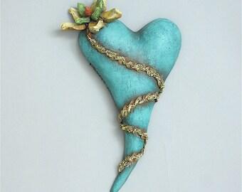 "Heart, ceramic wall art, Jacquline Hurlbert, one of a kind, unique, title: ""Desert Bloom"""
