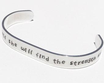 Strength Custom Cuff Bracelet Silver Cuff Bracelet Inspirational Cuff Bracelet Custom Hand Stamped Cuff Hand Stamped Jewelry Bracelets