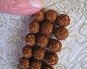 Antique Cinnamon Decorative FRENCH Silky Crochet? Passementerie TINY BUTTONS - 1/4in