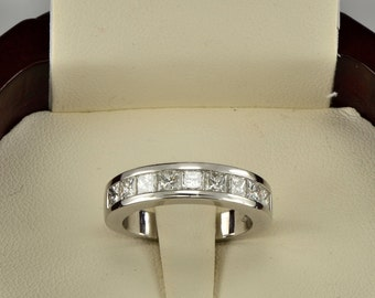 Top end 1.80 Ct F/IF princess cut diamond half eternity ring
