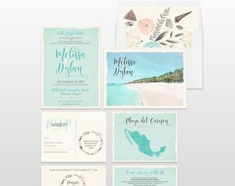 Destination wedding invitation Mexico Beach Playa del Carmen, Punta Mita, Cabo, Puerto Vallarta illustrated floral set Deposit Payment