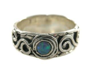 Sterling silver opal ring. Treble silver ring.  opal ring. Silver ring. Silver band. Opal silver ring. Opal band. opal jewelry (sr-9563-518)