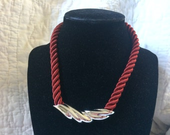 Vintage Red Fabric with Silvertone Pendant Necklace, 16'' Long