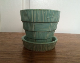 Vintage McCoy Art Pottery Turquoise Flower Pot, Planter, Basket Weave Pattern