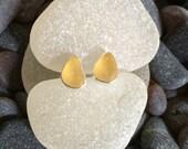 Pale Yellow Sea Glass Stud Earrings Sterling Silver