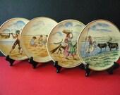 "Four 7"" Decorative Hand Painted Aveiro Portugal Ceramic Plates"
