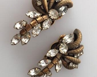 1960s Vintage Earrings RHINESTONE Earrings Antiqued GOLDTONE Finish Clip Ons NOS Bridal Jewelry Vintage Earrings