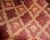 Highland Court Designer Fabric from Italy, Wine Red,  All Purpose Fabric for Crafts/Home Decor, Floral Fabric Design