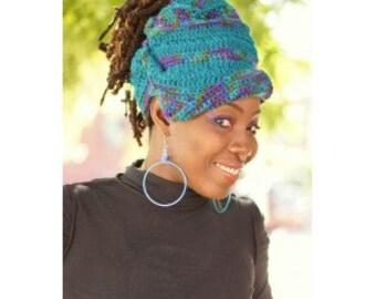 Warm Winter Crochet Gele Loc Wrap Hat