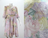 Plus Size Dress - Mother of Bride Groom - Floral Pastels - Watercolor Roses - Spring Wedding
