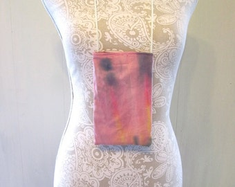 Pink Tie Dye Neck Pouch for Money Credit Cards Cell Phone Medicine Necklace One Pocket on Inside Velcro Closure Wearable Wallet for Travel