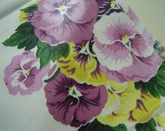 SALE Vintage 1950's, 60's Bright Purple Yellow Pansies Polished Cotton Fabric, Shy of 3 yards