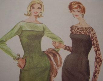 Vintage 1960's McCall's 5620 Dress Sewing Pattern, Size 12, Bust 32
