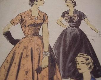 Vintage 1950's Advance 7011 Gloria Swanson Dress Sewing Pattern, Size 18 1/2, Bust 38