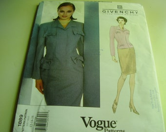 Vogue 1889 Paris Original Givenchy Suit Sewing Pattern, Size 12-14-16
