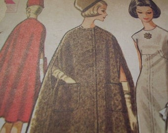 Vintage 1960's McCall's 7063 Pauline Trigere Dress and Cape Sewing Pattern, Size 12, Bust 32