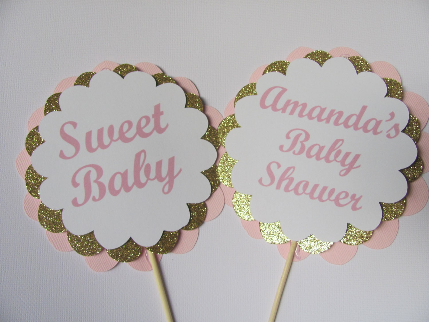 Pink and gold centerpiece sticks personalized