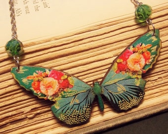 Green and Pink Wooden Butterfly Necklace