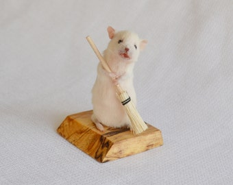 Taxidermy mouse with broom.