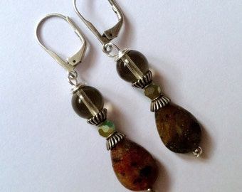 Gray and Brown Quartz Beaded Earrings On Antiqued Silver Leverbacks