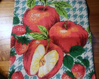 Vintage 1960's Linen Apple & Strawberry Dish Towel