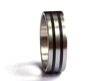 Mens Ring, Titanium Wedding Ring, Mens Wedding Band, Mens Ring, Titanium Mens Band With Ebony Inlay