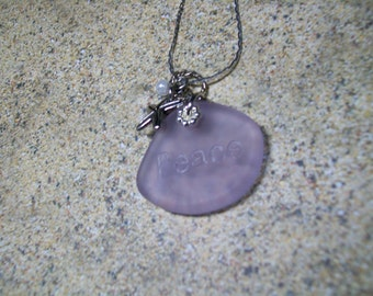 "Periwinkle purple ""peace"" seaglass necklace, free shipping within US"
