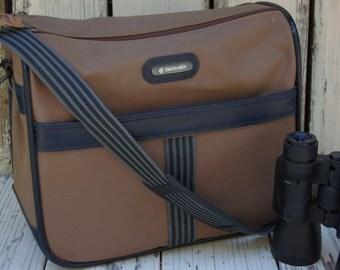 Vintage Samsonite Carry On Bag. Masculine Samsonite Travel Bag. Tan and black Samsonite travel bag