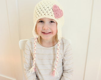 Cream Earflap and Pink Heart Hat, Toddler Girl Hat, Baby Girl Hat, Valentine's Day Hat